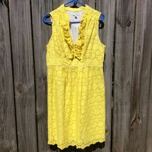 Shoshanna Yellow Circle Eyelet Dress 12